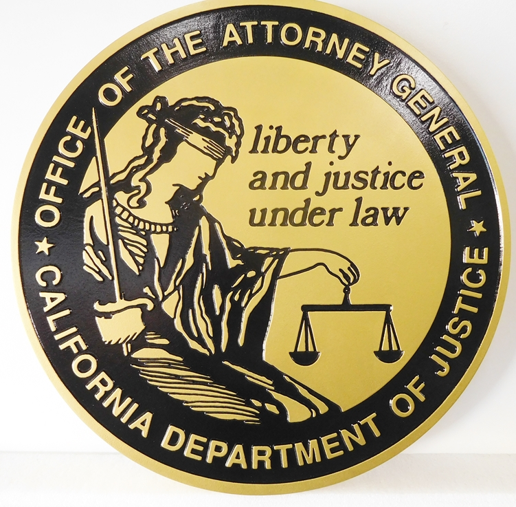 GP-1420 - Carved Plaque of the Seal of the Office of Attorney General, California, Artist Painted