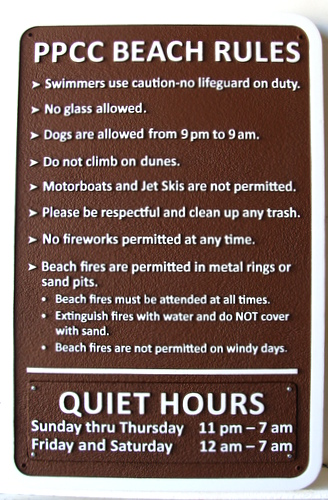 KA20771 - Sandblasted and Carved HDU Beach Rules Sign for Residential Community