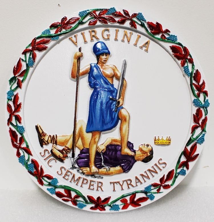 BP-1545 - Carved Plaque of the Great Seal of the State of Virginia, 3-D Artist-Painted