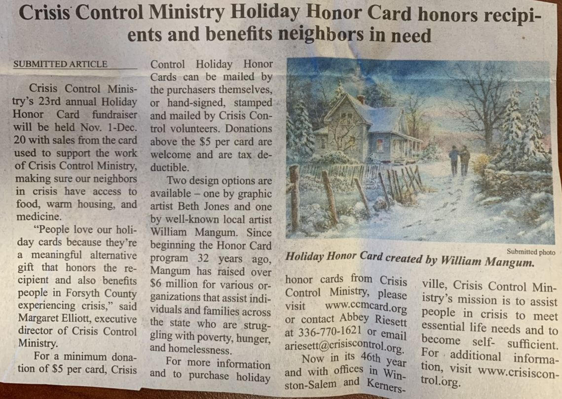 The Chronicle: Crisis Control Ministry Holiday Honor Card honors recipients and benefits neighbors in need