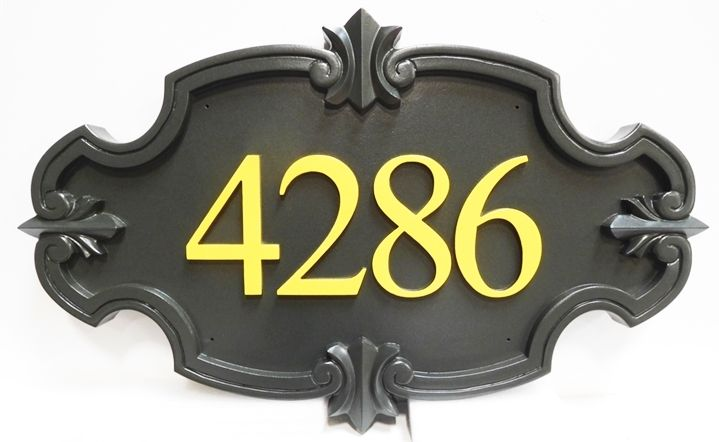 Y29184 - Carved Room Number Sign for a Hotel or Motel, with 3-D Ornate Border and Gold Numbers