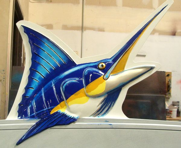 L21370 – 3-D HDU Coastal Residence Sign, with  Carved Sailfish