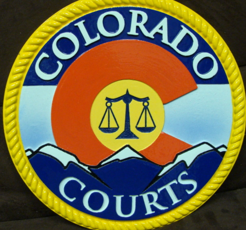 GP-1060 - Carved Plaque of the Seal of Colorado State Courts, Artist Painted