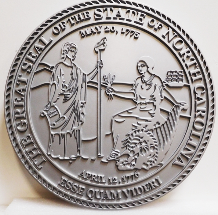 BP-1415 - Carved Wall Plaque of the Great Seal of the State of North Carolina, 2.5-D Outline Relief Metallic Silver Painted