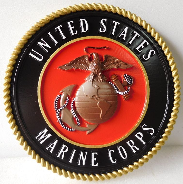 V31406 - Marine Corps Emblem, Carved HDU, with Official Colors