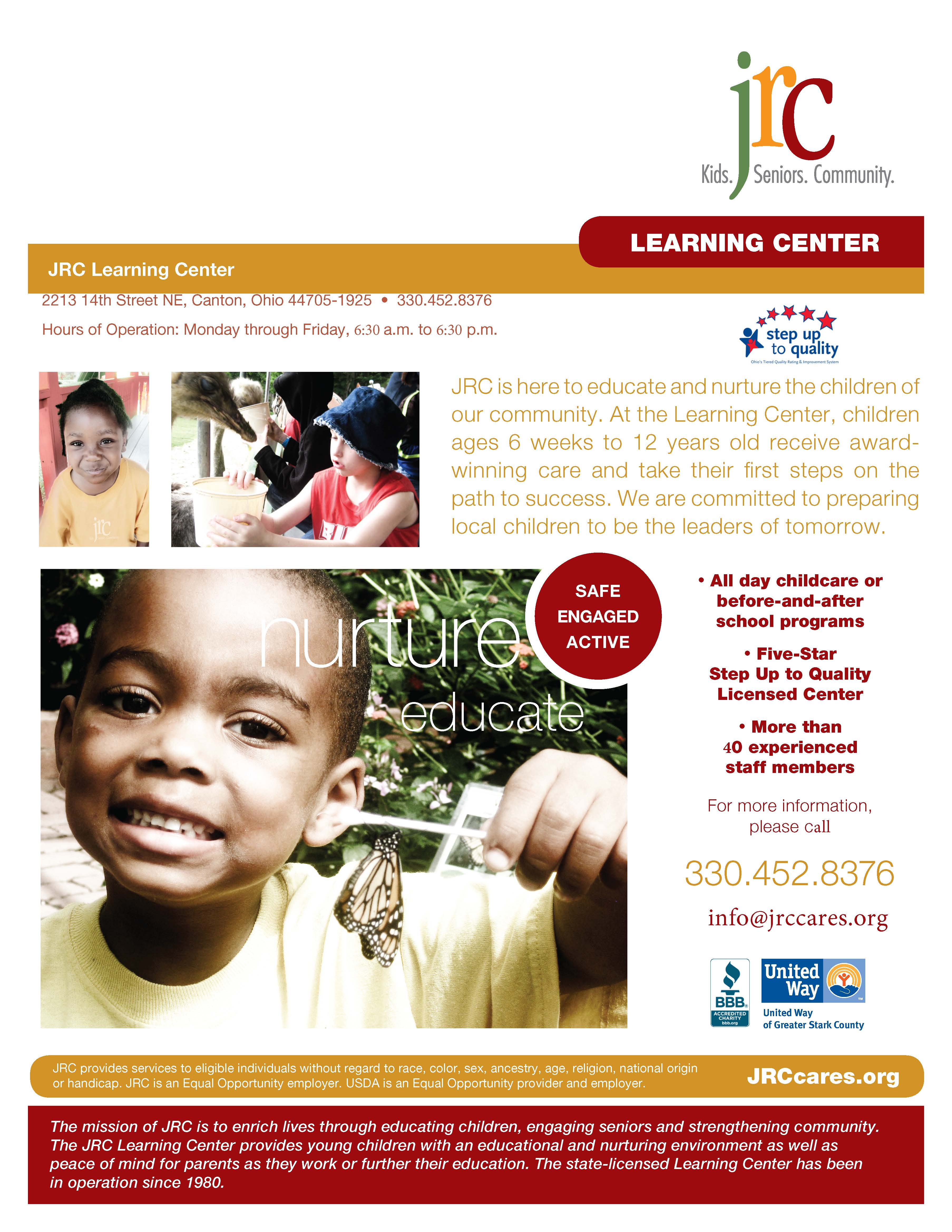 JRC Learning Center Flyer - Click here for printable flyer