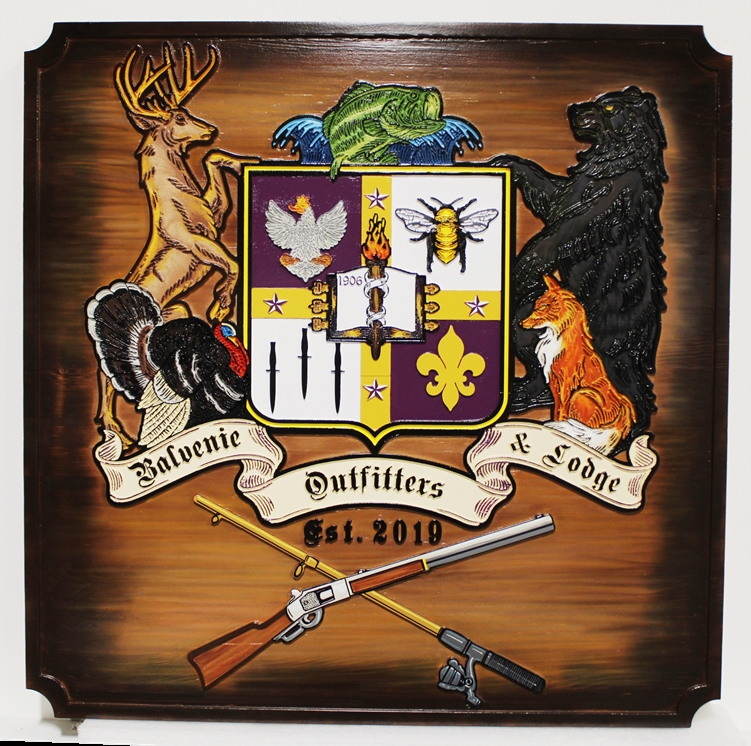 XP-2002 - Carved Rustic Cedar Coat-of-Arms for Balvenie Outfitters and Lodge Engraved with  Shield, Game, Rifle and Fishing Rod as Artwork, Scorched on Edges