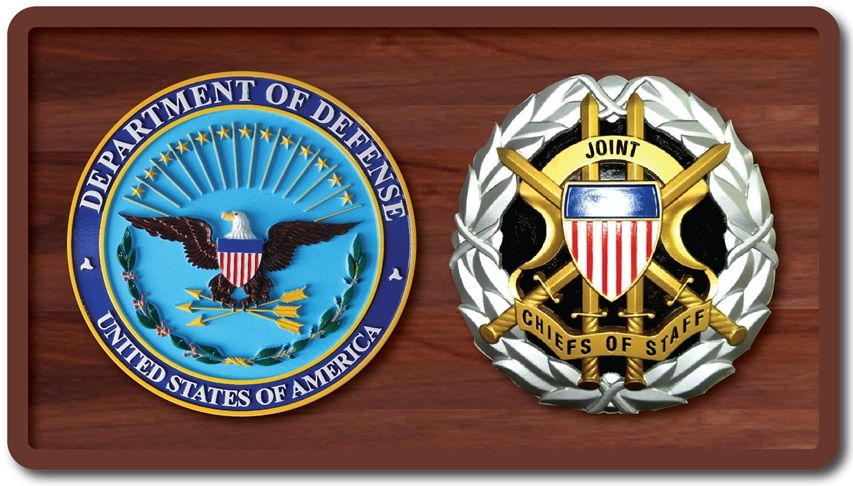 IP-1120 - Carved Plaque of the Seals of the DoD and Joint Chiefs , Artist Painted and Mounted on Mahogany Wood