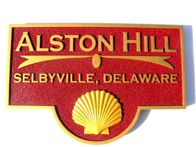 """L21522- Property Name  """"Aliston Hill"""" Sign  with 3-D Clam  Shell for a Sea Coast Residence"""