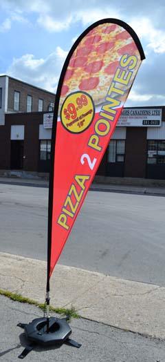 Pizza 2 pointes Teardrop Flag