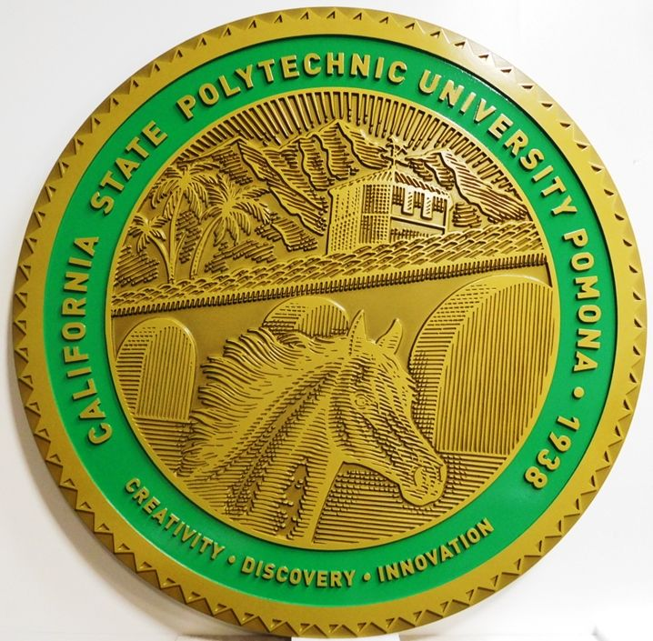RP-1052 - Carved Plaque of the Seal of the California State Polytechnic University at Pomona, 2.5-D Outline Relief, Brass-Plated