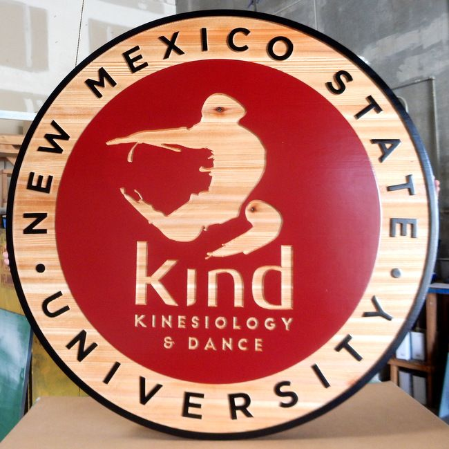 "M3046 - Carved Cedar Wood Sign for ""Kind"" Kinesiology and Dance with Stylized Adult and Child Dancer, New Mexico State U (Gallery 34)."