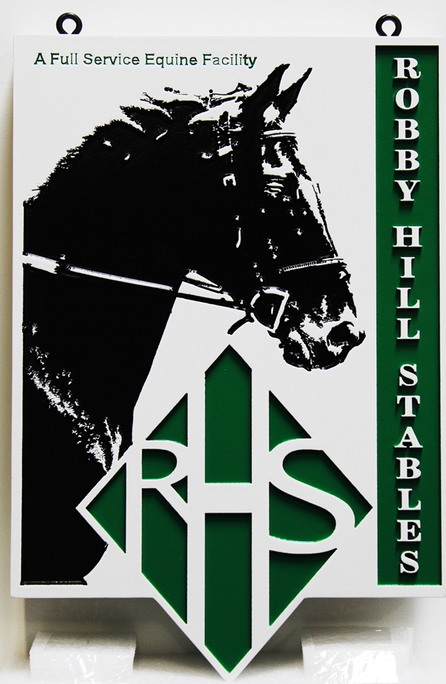 P25211 - Carved Sign for Robby Hill Stables,with  a Horse's Head and Neck in Profile.