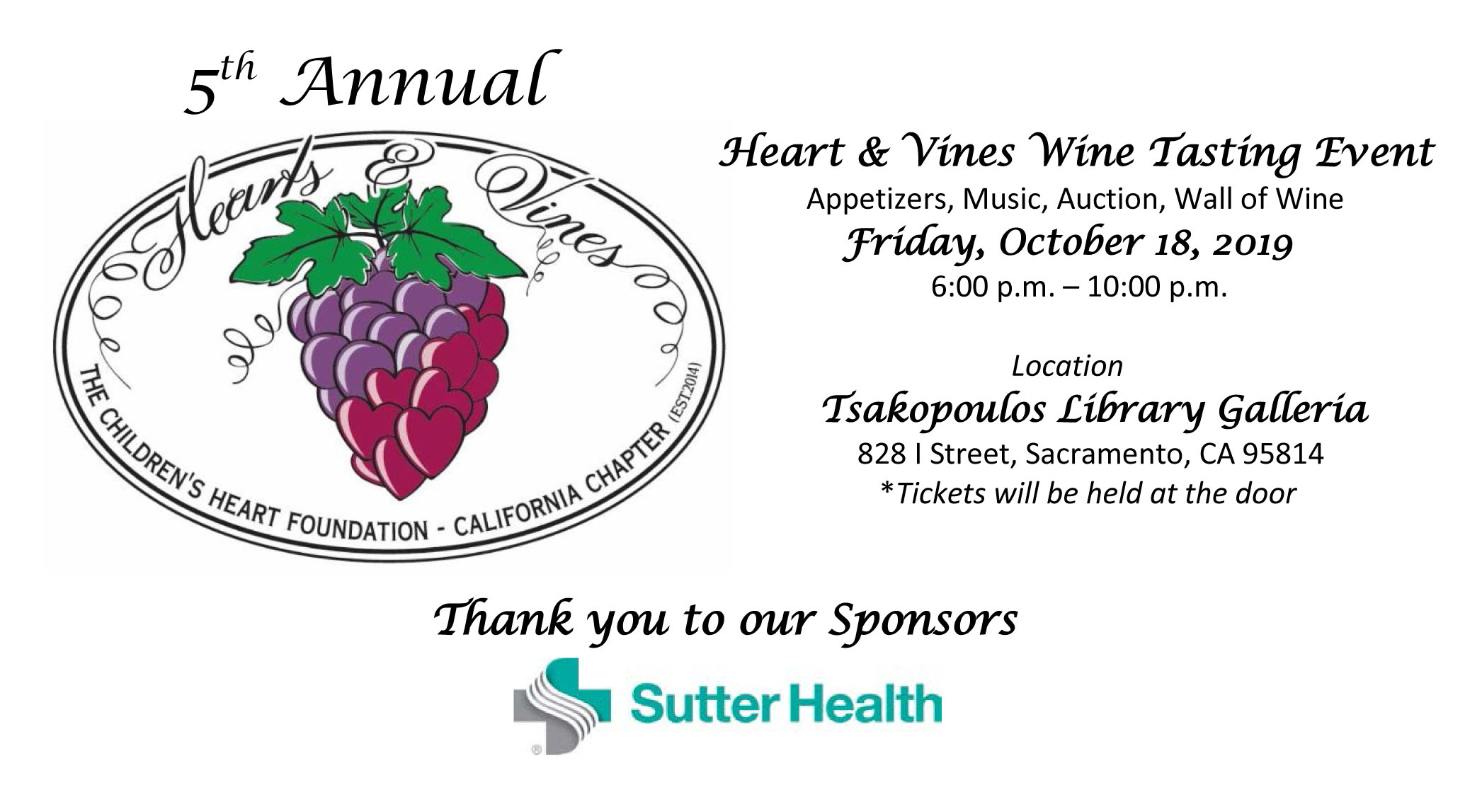 5th Annual Hearts & Vines Wine Tasting Event (California)