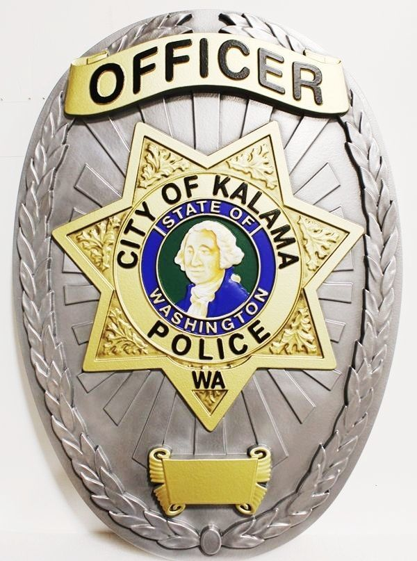 PP-1476 - Carved Plaque of the Police Officer Badge of the City of Kalama, Washington, 3-D Artist-Painted