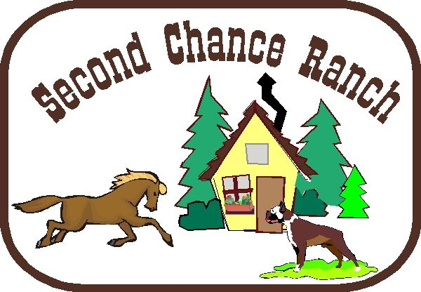 """O24815 - Design for Sign """"Second Chance Ranch"""" with Cabin in Forest, Running Horse and Boxer Dog"""