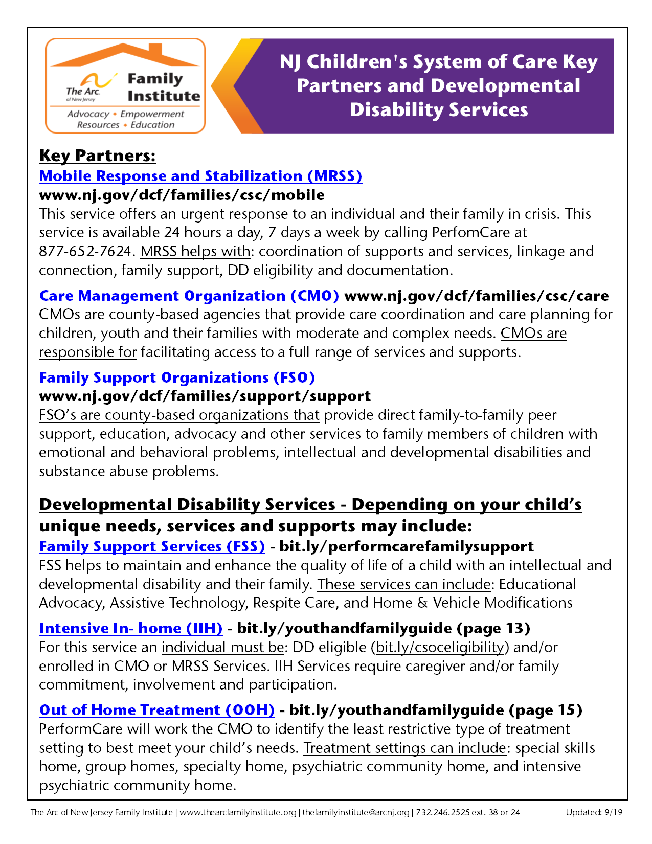 NJ Children's System of Care Key Partners and Developmental Disability Services