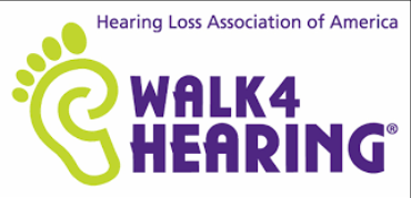 Image of Walk 4 Hearing logo, text reads Hearing Loss Association of America Walk 4 Hearing.