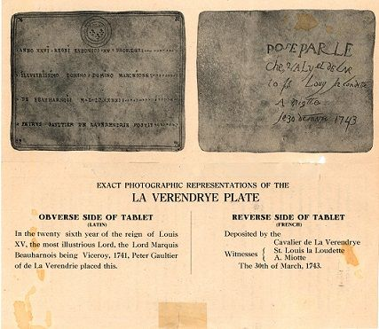 South Dakota Digital Archives features Verendrye Plate/Expedition history