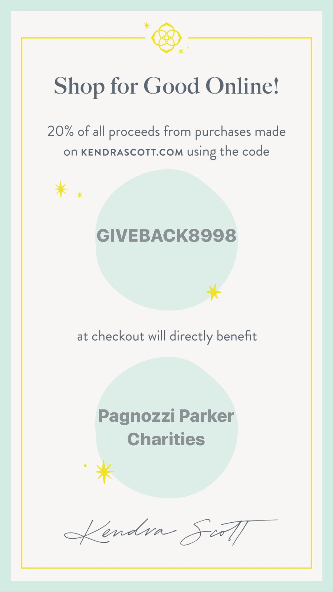 Shop for a Cause with Kendra Scott Benefitting Pagnozzi Parker Charities