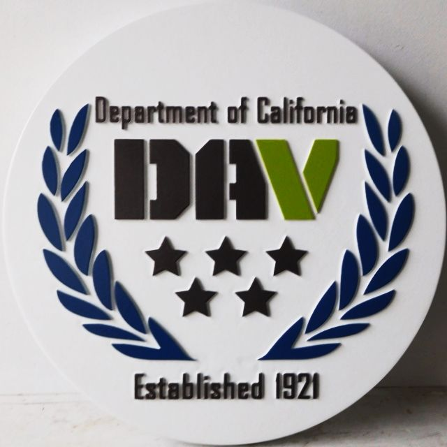 """SA28800 - Carved HDU Sign for the """"Department  of California DAV"""", with Stars and Wreath"""