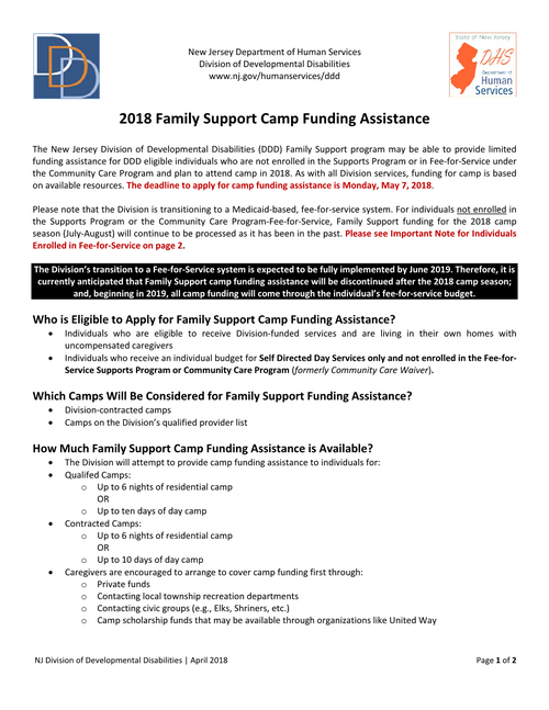 DDD 2018 Camp Funding Information