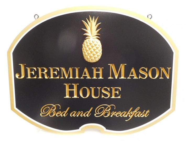 "T29051 - Beautiful and Elegant Engraved Sign made for the ""Jeremiah Mason House"" Bed & Breakfast (B&B), with 3-D Carved Pineapple as Artwork."