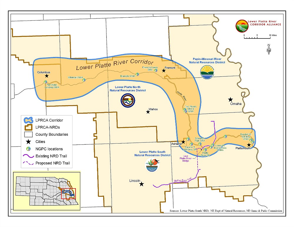 Map of Lower Platte River Corridor