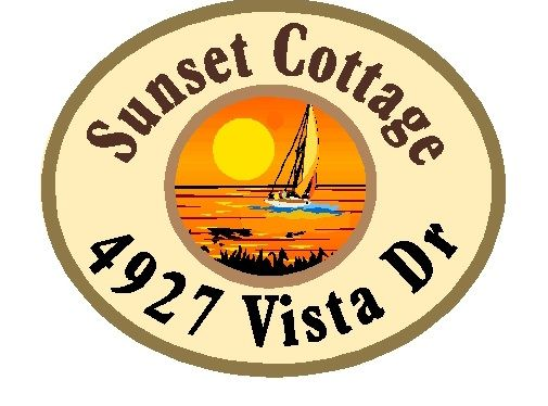 "L21262 - Beach Cottage Address Sign for ""Sunset Cottage"", with Setting Sun and  Sailboat"