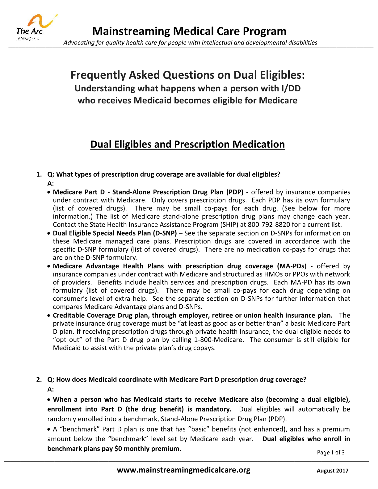 FAQ on Dual Eligibles: Understanding what happens when a person with I/DD who receives Medicaid becomes eligible for Medicare - Dual Eligibles and Prescription Medication
