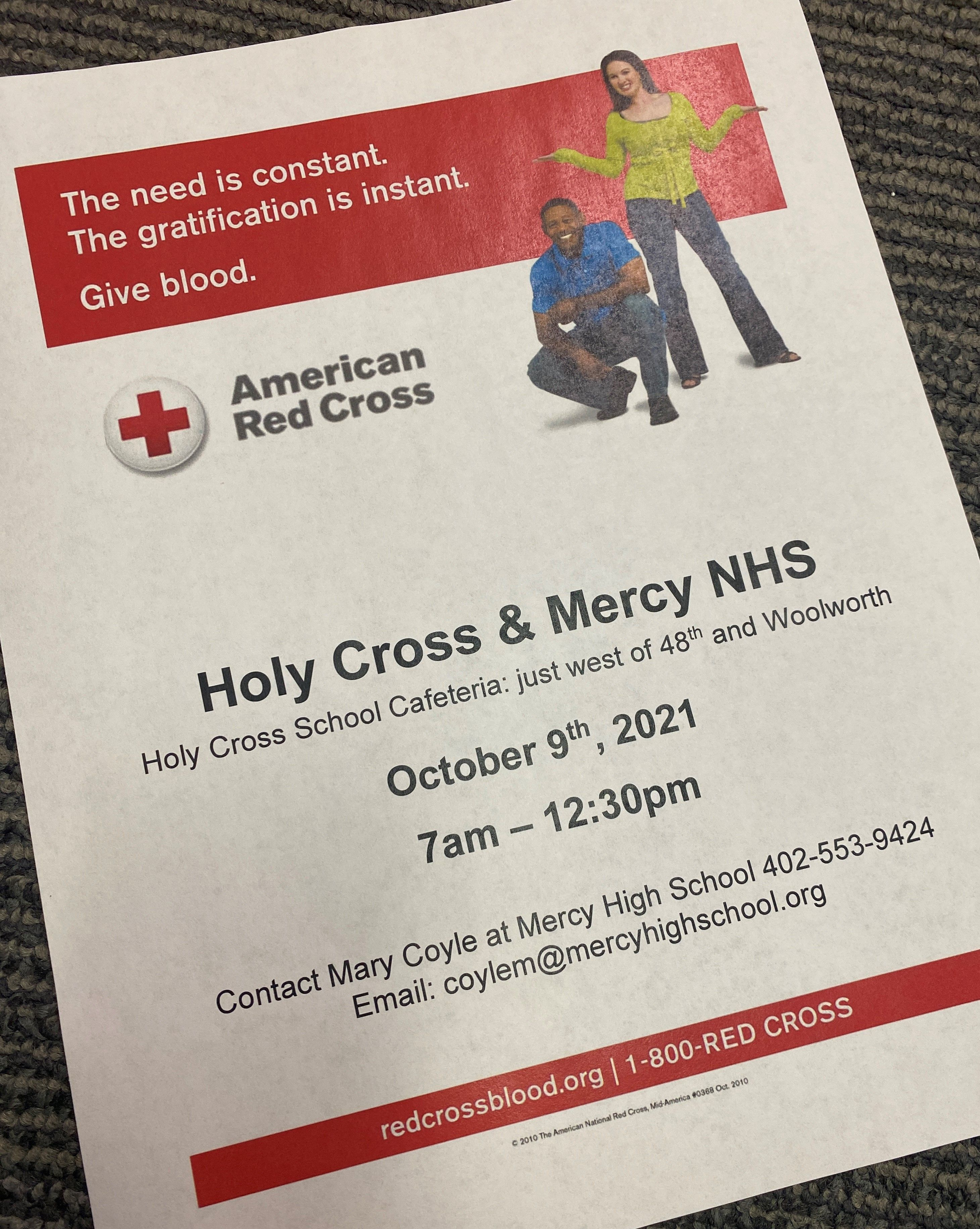 Holy Cross and Mercy High School Blood Drive