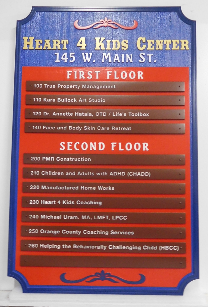 "S28109 - Colorful Carved  Cedar Wood Directory Sign for the ""Heart 4 Kids Center"", with Engraved Store Replaceable Nameplates"
