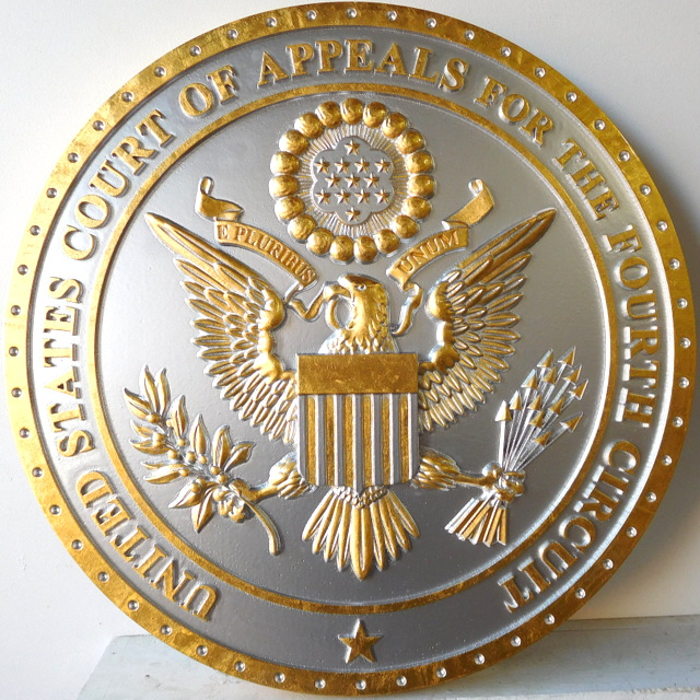 FP-1030 - Carved Plaque of the Seal  of the US Court of Appeals, Fourth Circuit, Gold and Silver Gilded