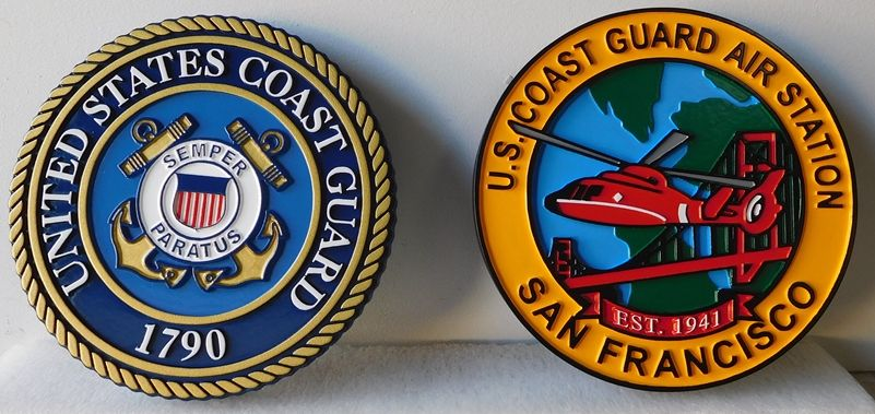 V31987 - Two Carved 2.5-D Outline relief Wall Plaques for the USCG San Francisco Air Station
