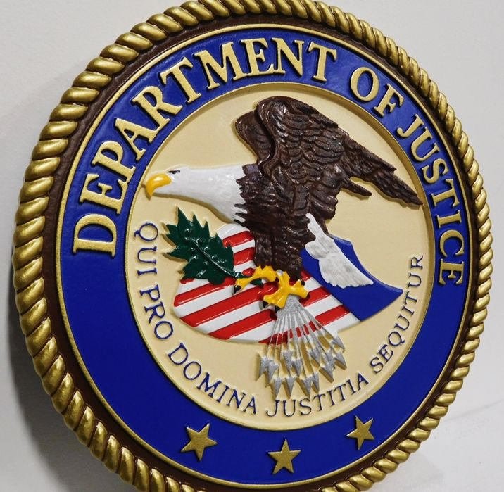 AP-2322- Carved Plaque of the Seal of the US Department of Justice,3-D  Artist Painted (side view)
