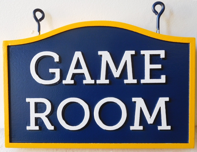 "KA20609  Carved HDU ""Game Room "" Hanging Sign"