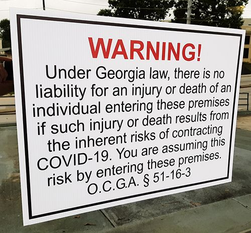 Georgia Law COVID-19 Liability Sign