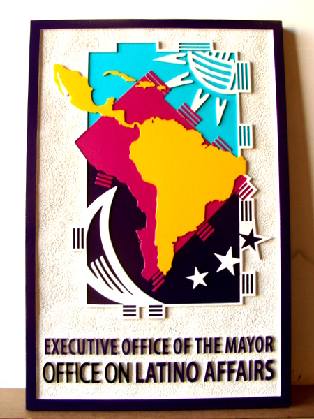 X33097 - Carved Dimensional Layered Wall Plaque for Mayors' Office on Latino Affairs