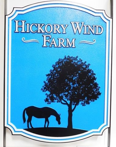 """P25229 - Carved and Sandblasted HDU Sign for the  """"Hickory Wind Farm"""" with  a Horse Grazing under a Tree as Artwork"""