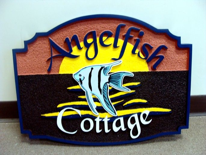 L21388 - Carved Wood Seashore Home Sign with Angelfish