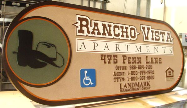 K20127-Apartment Sign in Carved, Sandblasted HDU with Carved Image of Western Boots and Western Hat