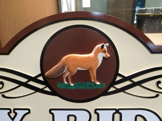 M2156 - Carved Fox on Cabin Sign (Gallery 21)