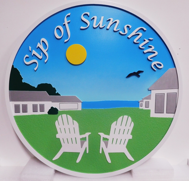 "L21023 – Carved 2.5D HDU Beach House Sign ""Sip of Sunshine"" with Two Chairs facing Ocean and Evening Sun"