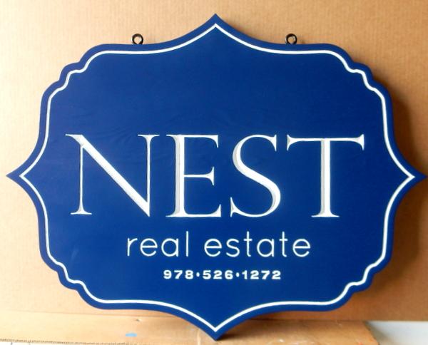 C12318 -  Carved HDU Hanging Real Estate Sign