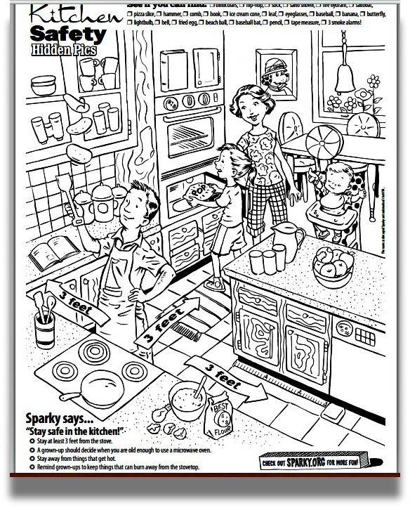 free coloring pages of kitchen safety. Black Bedroom Furniture Sets. Home Design Ideas