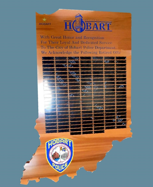 PP-3460 -  Carved Perpetual  Retiree Plaque for the Hobart Police Department,  Indiana, Cedar Wood with Brass Plates