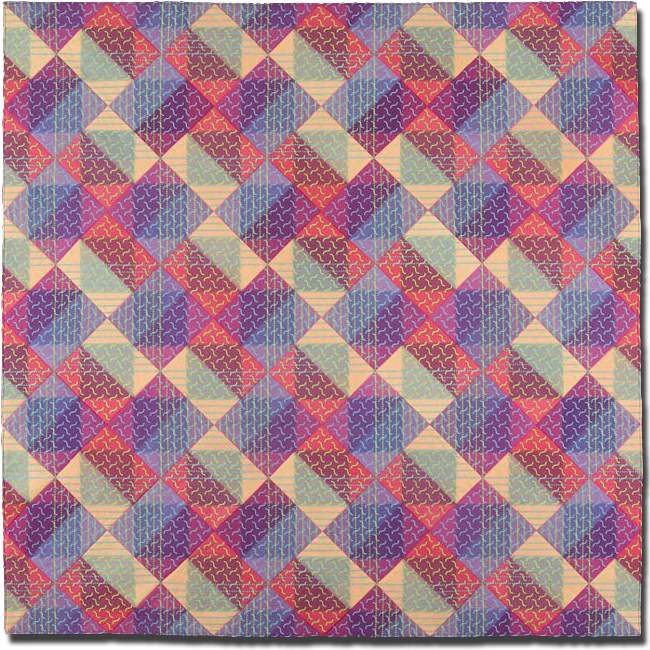 'PW Block #5,' made by Ellen Oppenheimer, made in Oakland, California, United States, dated 2003, 65 x 65 in, IQSCM 2004.022.0001