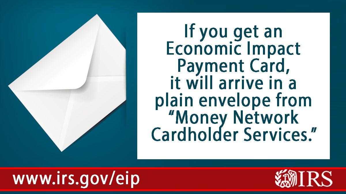 Economic Impact Payments - Debit cards - plain envelope