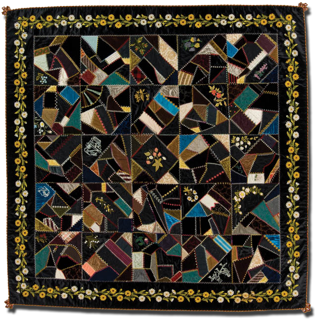 Crazy quilt, maker unknown, made in Indiana, United States, circa 1880-1890, 71 x 70 in, IQSCM 1997.007.0234