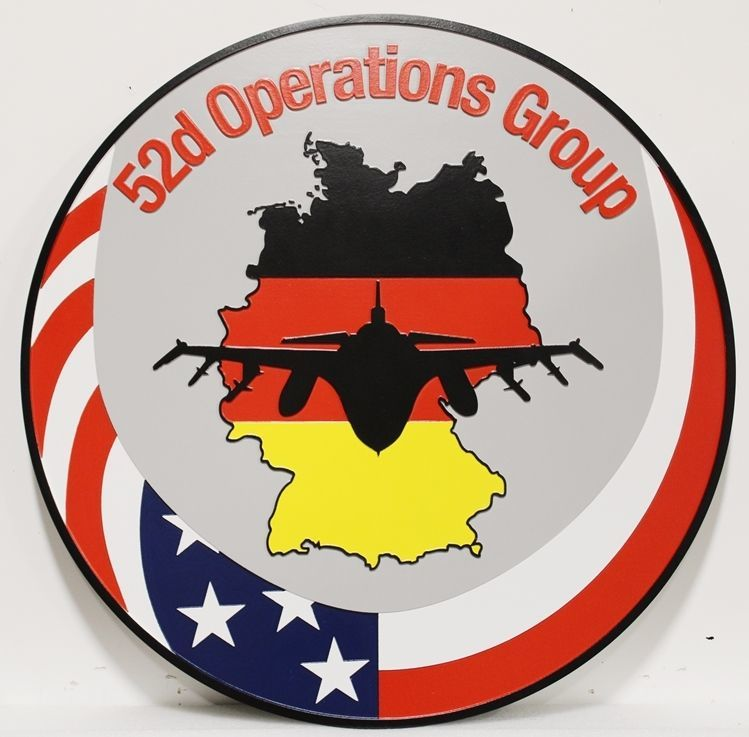 LP-2242 - Carved 2.5-D HDU Plaque of the Crest of the 52nd OperationsGroup, US Air Force